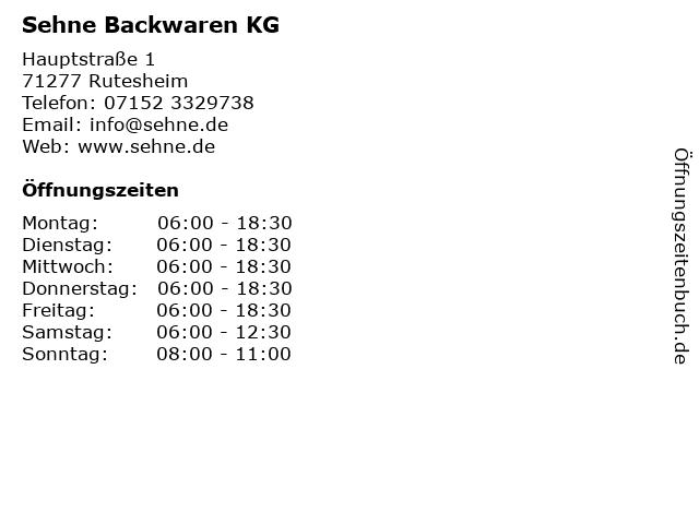 Sehne Backwaren KG in Rutesheim: Adresse und Öffnungszeiten