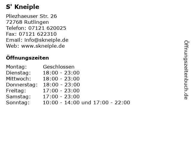 S' Kneiple in Rutlingen: Adresse und Öffnungszeiten