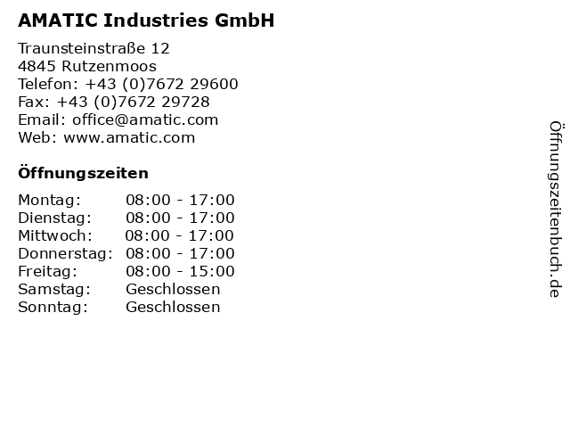 AMATIC Industries GmbH in Rutzenmoos: Adresse und Öffnungszeiten