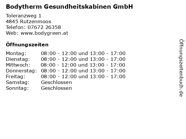 Bodytherm Gesundheitskabinen GmbH in Rutzenmoos: Adresse und Öffnungszeiten