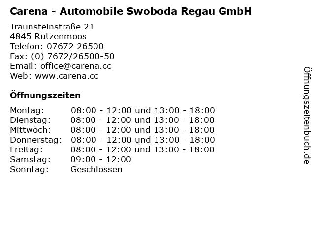 Carena - Automobile Swoboda Regau GmbH in Rutzenmoos: Adresse und Öffnungszeiten