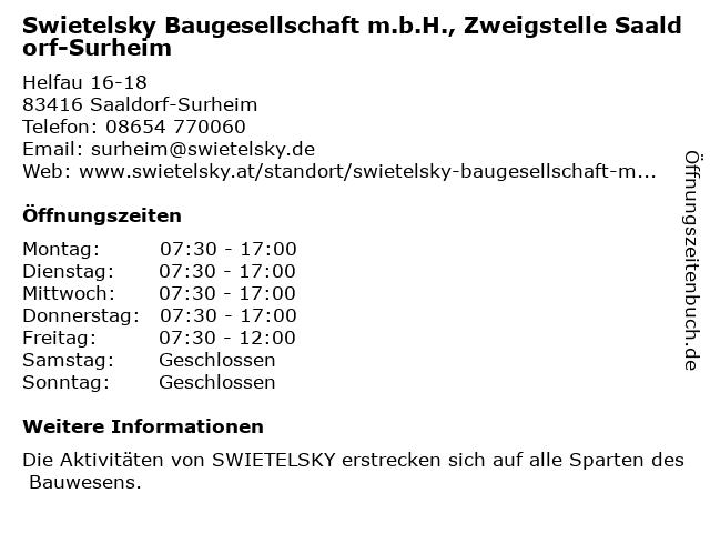 Swietelsky Baugesellschaft m.b.H., Zweigstelle Saaldorf-Surheim in Saaldorf-Surheim: Adresse und Öffnungszeiten