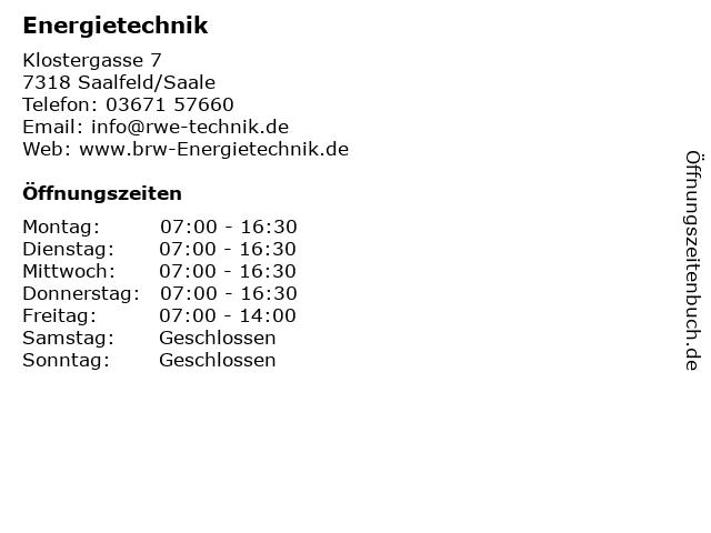 Energietechnik in Saalfeld/Saale: Adresse und Öffnungszeiten