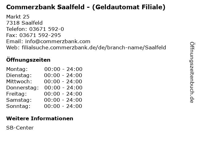 ᐅ öffnungszeiten Commerzbank Saalfeld Geldautomat Filiale