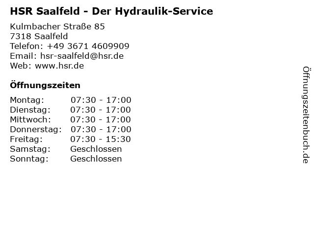 HSR Der Hydraulik-Service in Saalfeld: Adresse und Öffnungszeiten