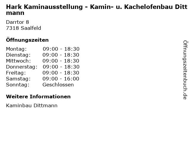 Hark Kaminausstellung - Kamin- u. Kachelofenbau Dittmann in Saalfeld: Adresse und Öffnungszeiten