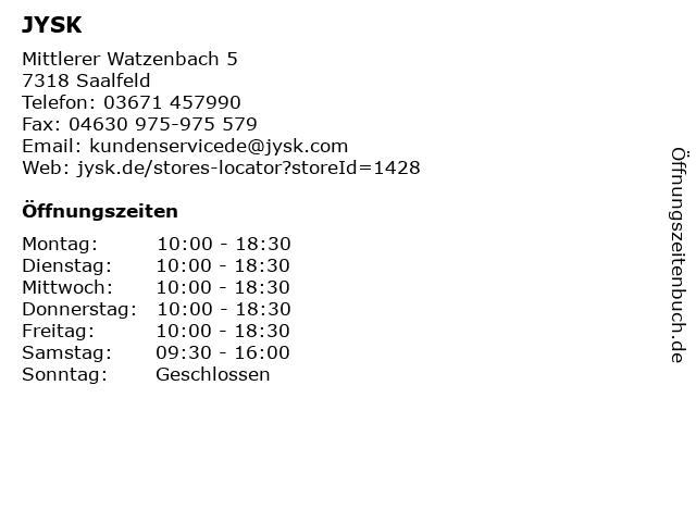 JYSK in Saalfeld: Adresse und Öffnungszeiten