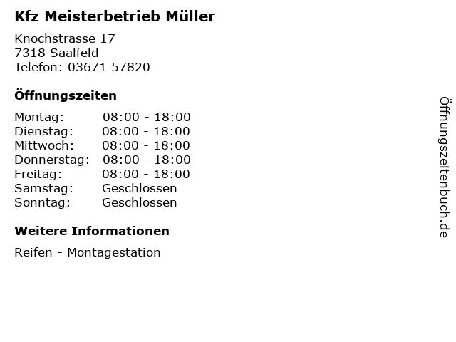Kfz Meisterbetrieb Müller in Saalfeld: Adresse und Öffnungszeiten