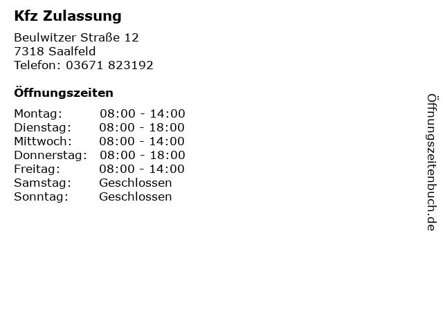 Kfz Zulassung in Saalfeld: Adresse und Öffnungszeiten