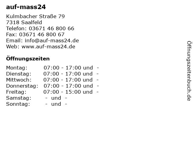 ᐅ öffnungszeiten Auf Mass24 Kulmbacher Straße 79 In Saalfeld