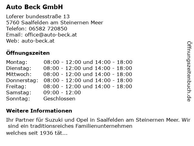 Auto Beck GmbH in Saalfelden am Steinernen Meer: Adresse und Öffnungszeiten
