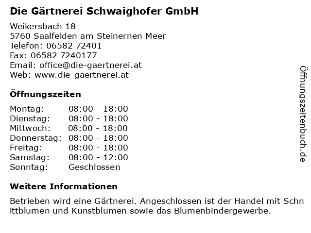 Die Gärtnerei Schwaighofer GmbH in Saalfelden am Steinernen Meer: Adresse und Öffnungszeiten