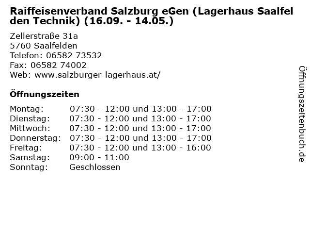 Raiffeisenverband Salzburg eGen (Lagerhaus Saalfelden Technik) (16.09. - 14.05.) in Saalfelden: Adresse und Öffnungszeiten