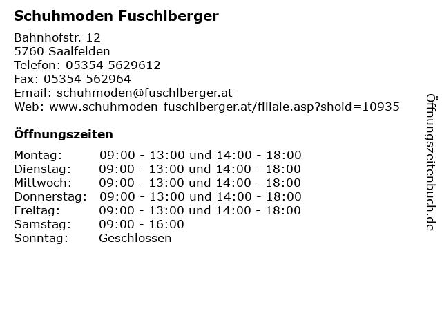 Schuhmoden Fuschlberger in Saalfelden: Adresse und Öffnungszeiten