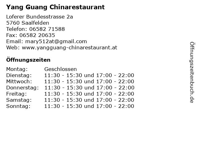 Yang Guang Chinarestaurant in Saalfelden: Adresse und Öffnungszeiten