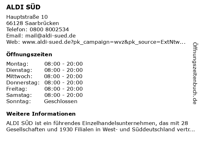 ALDI SÜD in Saarbrücken: Adresse und Öffnungszeiten