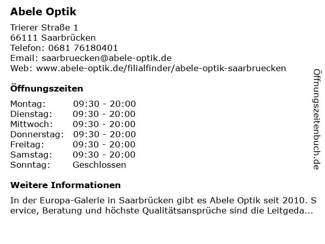 Abele-Optik GmbH in Saarbrücken: Adresse und Öffnungszeiten
