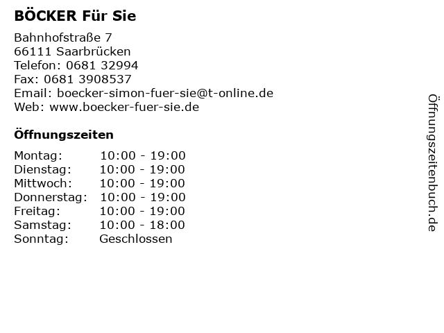 BÖCKER Für Sie in Saarbrücken: Adresse und Öffnungszeiten
