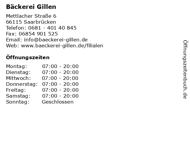 Bäckerei Gillen in Saarbrücken: Adresse und Öffnungszeiten