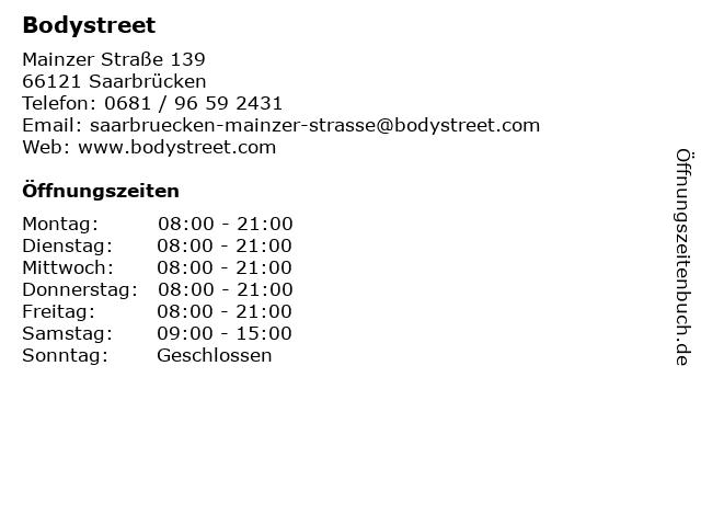 Bodystreet in Saarbrücken: Adresse und Öffnungszeiten