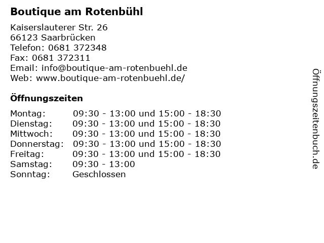 Boutique am Rotenbühl in Saarbrücken: Adresse und Öffnungszeiten