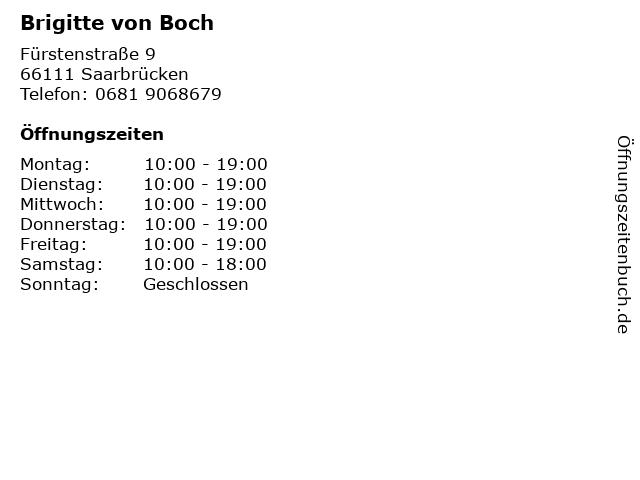 Brigitte von Boch in Saarbrücken: Adresse und Öffnungszeiten
