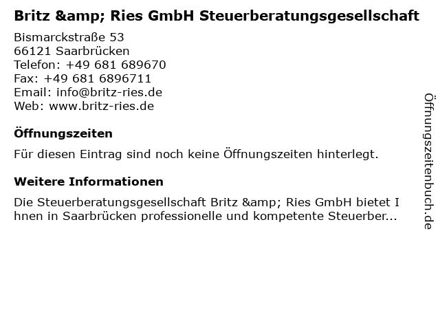 Britz & Ries GmbH Steuerberatungsgesellschaft in Saarbrücken: Adresse und Öffnungszeiten