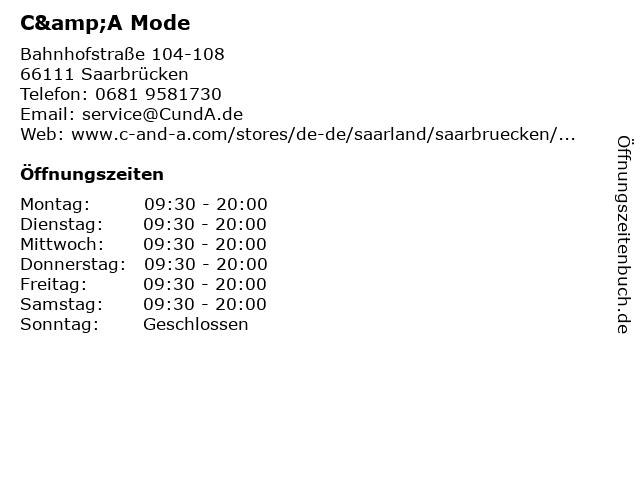 C&A Mode GmbH & Co. KG in Saarbrücken: Adresse und Öffnungszeiten