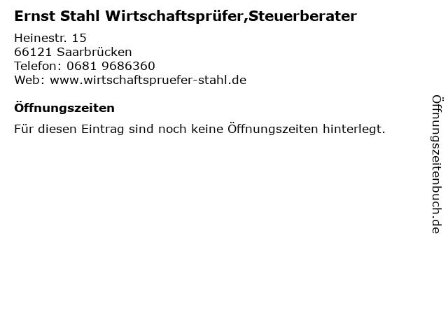Ernst Stahl Wirtschaftsprüfer,Steuerberater in Saarbrücken: Adresse und Öffnungszeiten