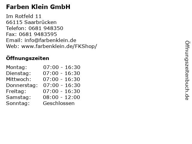 ᐅ öffnungszeiten Farben Klein Gmbh Im Rotfeld 11 In Saarbrücken