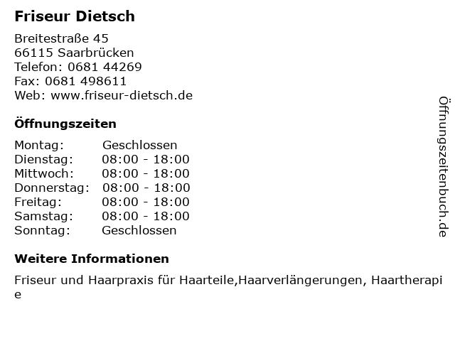 Friseur Dietsch in Saarbrücken: Adresse und Öffnungszeiten