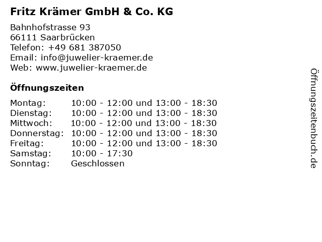 Fritz Krämer GmbH & Co. KG in Saarbrücken: Adresse und Öffnungszeiten