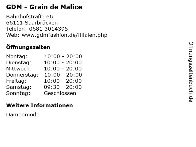 GDM - Grain de Malice in Saarbrücken: Adresse und Öffnungszeiten