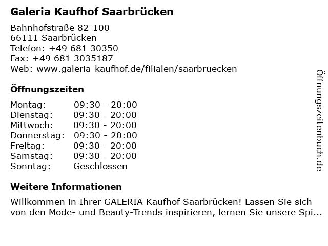 Galeria Kaufhof Saarbrücken in Saarbrücken: Adresse und Öffnungszeiten