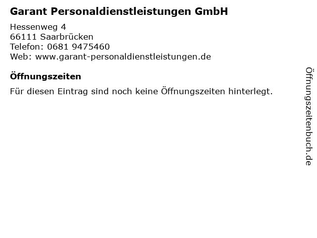 Garant Personaldienstleistungen GmbH in Saarbrücken: Adresse und Öffnungszeiten