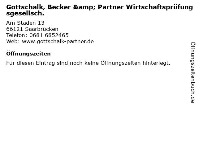 Gottschalk, Becker & Partner Wirtschaftsprüfungsgesellsch. in Saarbrücken: Adresse und Öffnungszeiten