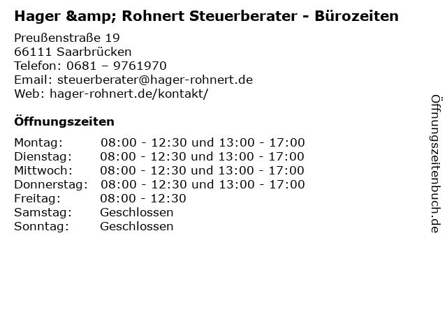 Hager & Rohnert Steuerberater - Bürozeiten in Saarbrücken: Adresse und Öffnungszeiten