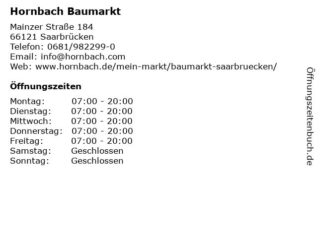 hornbach öffnungszeiten saarbrücken