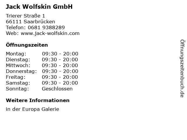 Jack Wolfskin GmbH in Saarbrücken: Adresse und Öffnungszeiten