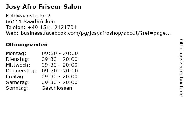 Josy Afro Friseur Salon in Saarbrücken: Adresse und Öffnungszeiten