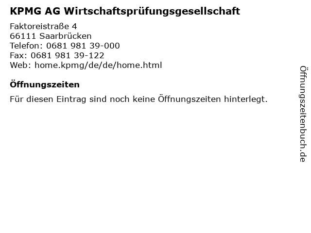 KPMG AG Wirtschaftsprüfungsgesellschaft in Saarbrücken: Adresse und Öffnungszeiten