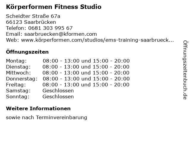 Körperformen Fitness Studio in Saarbrücken: Adresse und Öffnungszeiten