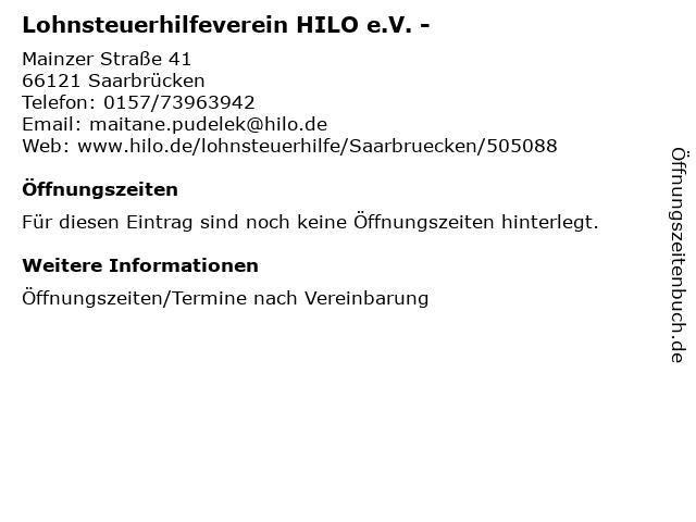 Lohnsteuerhilfeverein HILO e.V. - in Saarbrücken: Adresse und Öffnungszeiten