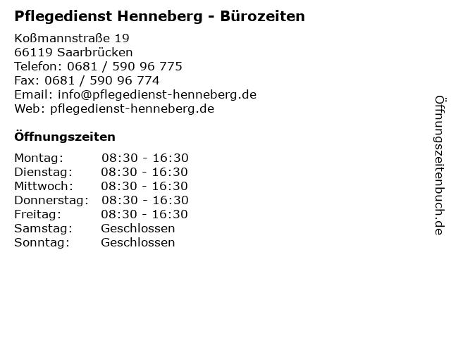 Pflegedienst Henneberg - Bürozeiten in Saarbrücken: Adresse und Öffnungszeiten