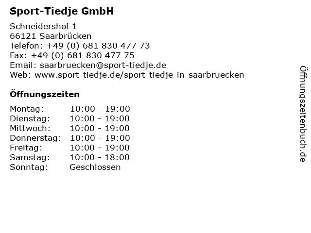 Sport-Tiedje GmbH in Saarbrücken: Adresse und Öffnungszeiten