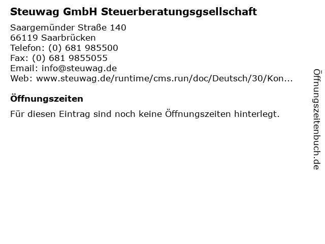 Steuwag GmbH Steuerberatungsgsellschaft in Saarbrücken: Adresse und Öffnungszeiten