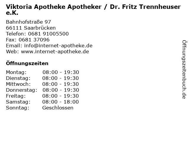 Viktoria Apotheke Apotheker / Dr. Fritz Trennheuser e.K. in Saarbrücken: Adresse und Öffnungszeiten