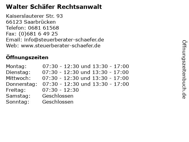 Walter Schäfer Rechtsanwalt in Saarbrücken: Adresse und Öffnungszeiten