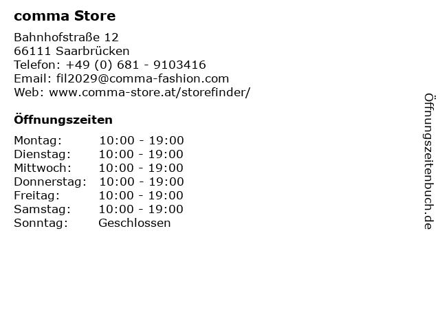 comma Store in Saarbrücken: Adresse und Öffnungszeiten