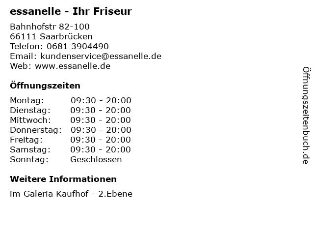 essanelle - Ihr Friseur in Saarbrücken: Adresse und Öffnungszeiten